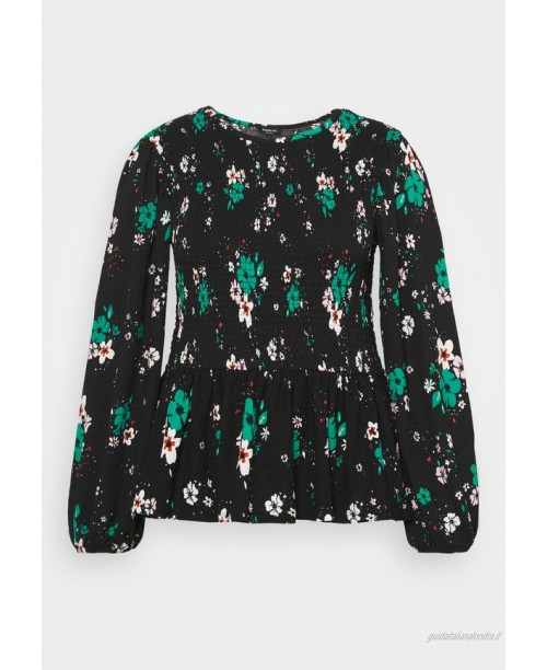Simply Be FLORAL LONG SLEEVE SHIRRED Maglietta a manica lunga black/nero