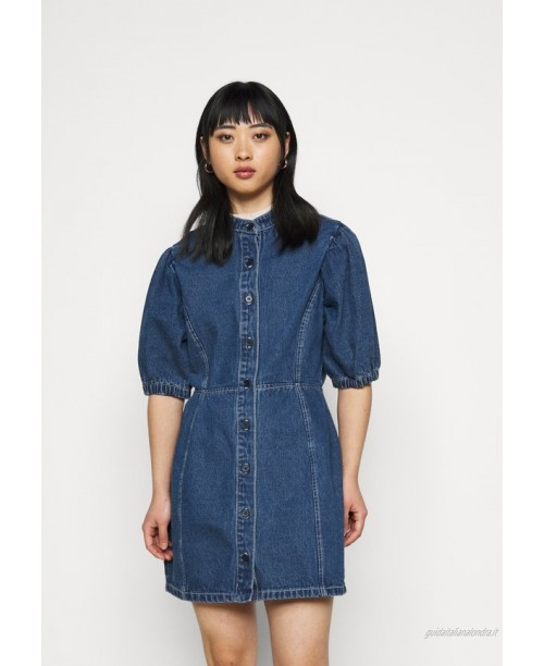 Missguided Petite CINCHED WAIST BALLOON SLEEVE DRESS Vestito di jeans blue/blu
