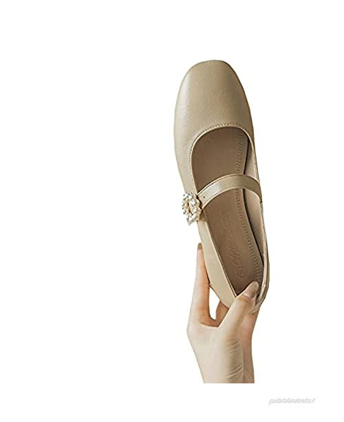 EDWRD Mary Jane Donna Comfort Mid Mary Jane Shoes Work Classic Vintage Court Shoes Sandali Apricot-36