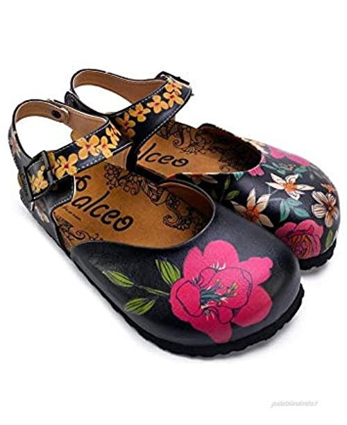Pink White Orange Flowers And Blue Green Leaf Patterned Clogs - CAL1609